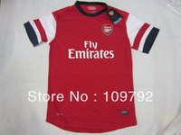 free shipping 13/14 top Thailand Quality Players version Arsenal home red soccer Football jersey , 2014 Arsenal soccer jersey