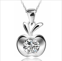 Free Shipping! Wholesale Christmas Fashion Necklace 925 Sterling Silver Necklace Apple Pendant Necklace(DX150)