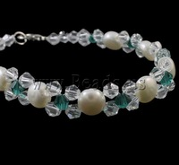 Free shipping!!!Cultured Freshwater Pearl Bracelet,Wholesale Jewelry, with Crystal, brass lobster clasp, natural, white, 7-8mm