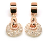 Fashion accessories fashion austrian crystal luxury dinner party bride bling rose gold wire earrings