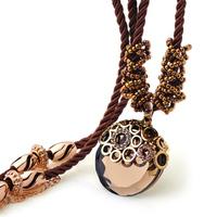 Vintage champagne color crystal necklace long necklace