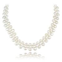 Elegant female brief natural freshwater pearl bride lovers necklace