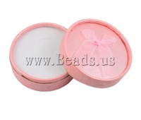 Free shipping!!!Cardboard Jewelry Set Box,New Arrival, finger ring & earring, with Velveteen, Flat Round, pink, 84x38mm