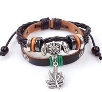 Wholesale Genuine Leather Alloy Unisex Men's & Lady's Love Fashion For Women Bracelet lucky leaf men Free Shipping  HeHuanSLQ130