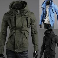Zipper fashion men double layer collar slim jacket outerwear man casual jacket coat  free shipping