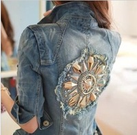 Back beading 2013 cherryspoon slim denim outerwear coat jeans  free shipping