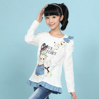T-shirt 2013 medium-large girls clothing autumn long-sleeve small skirt bow o-neck 1304 free shipping