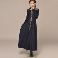 Autumn and winter national trend slim waist elegant design long overcoat wool woolen one-piece dress