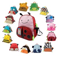 Free shipping 100% canvas Double-shoulder children's backpack zoo animal pack cartoon school bag