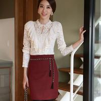 Women woolen Blended High Waist Pencil Skirt Office Wear Suit Skirts