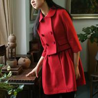 Original design high quality autumn and winter woolen short jacket set dress red bride overcoat female