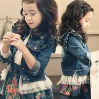 Children's clothing female child autumn 2013 lace decoration denim top child baby outerwear female child dress outerwear
