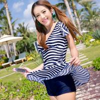 Swimwear female with sleeves sunscreen one-piece dress trunk swimwear hot spring swimwear female