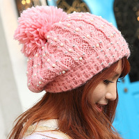 autumn and winter pearl hair ball knitted hat pullover knitting wool cap thermal sphere millinery