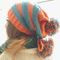 women's autumn and winter thermal knitted hat stripe wool ball cap pirate hat