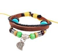 New Multilayer Leather Unisex Men&Women Fashion Strand Bracelet with Colorful Beads and Leaf PendantFree Shipping  HeHuanSLQ134
