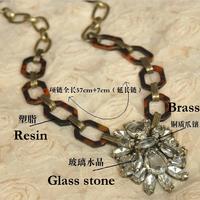 Vintage shining glass stone graceful long pendant necklace