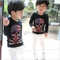 Children's clothing 2013 autumn male child five-pointed star skull 100% cotton basic shirt