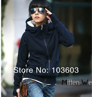 20pcs/lot 2014 New Korean Women's Hoodies Finger Sweatshirt Dew Finger Sets Cardigan Warm Thick Velvet Outwear Clothes Apparel