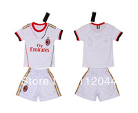 ^_^ 2013-2014  AC MILAN  Away  White     Kids /  Youth  soccer  jersey   soccer uniform kit  Embroidery logo   Free Shipping