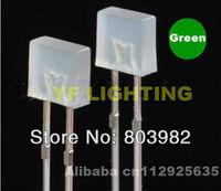 Factory wholesale Pure green square 5MM through hole led 3.0-3.5V Milky white led (CE&Rosh)