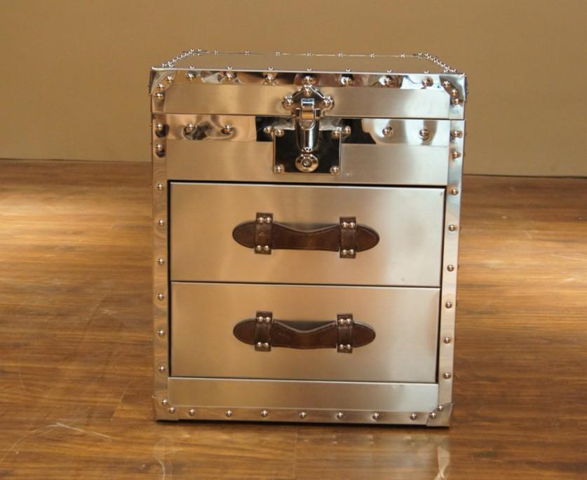 New arrival quality metal rivet stainless steel box bedside cabinet corner cabinet drawer cabinet