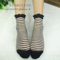 Glass tutuanan thin socks  stockings female sock stripe ultra-thin transparent cardn crystal silk socks