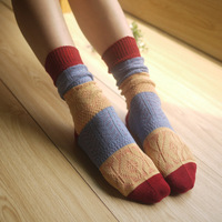 woman Vivi winter socks mercerizing wool  decorative pattern piles of socks thickening boot socks free shippng