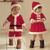 autumn polar fleece fabric baby long-sleeve dress christmas dress hat set