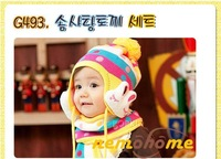 2013-2014 New Retail Thick Candy-colored Baby Hat Baby Rabbit Ear Hat + Scarves Winter Children Cap Free Shipping