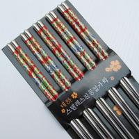Double stainless steel chopsticks print choptsicks rose chopsticks fsd-0208 114g