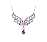 New Coming Fashionable Hot Selling Charming Hollow out Colorful Wing Pendent Crystal Necklace Free shipping