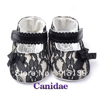 2013 new arrival black lace princess shoes little flower baby shoes for girls  toddler shoes/prewalker 11cm  12cm  13cm