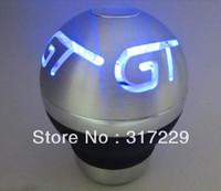 New Fashion Aluminum Alloy Blue LED Light Car Manual Gear Shift Lever Knob Shifter