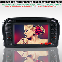 6.2 inch Mercedes Benz SL R230 (2001-2004) Car DVD Player with GPS Navigation+Bluetooth+Phone Book+Radio+TV+RDS+Free 8GB Map