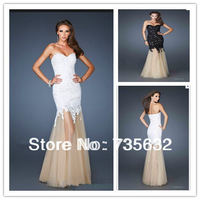 DHL-Free shipping Cheap Fashion Fit Sweetheart Floor length long white Lace Prom Dresses Evening Dresses A098