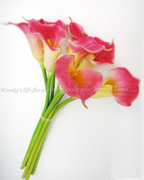 - artificial flower PU flowers full powder calla bridal bouquet set 65cm