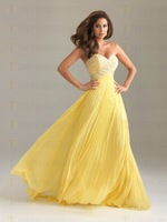 Free Shipping A-line Chiffon Sweetheart Evening Gowns with beads and crystals custom made club prom dresses 2013 long Promotion