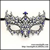 Wonderful!!! 48pcs/lot Perfect Royal Blue Crystal Venetian Filigree Metal Masks Free Shipping Woman Masquerade Party Masks