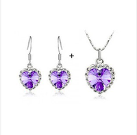 Hot-selling full rhinestone fashion crystal Jewelry Sets earrings necklace set multicolor