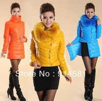 2013 free shipping, hot popular famous new winter medium-long wadded jacket coat fashionalfemale down cotton slim long outerwear