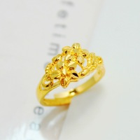 24k gold ring flower design  gold jewelry pure gold 24k bridal accessories unique gift