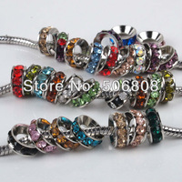 100pcs/lot Mixed Colors Rhinestone Rondelle Spacers European Large Hole Beads Fit Charms Bracelets 10x4mm Jewelry Findings