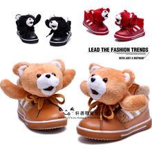 Winter cartoon bear child cotton-padded shoes warm shoes baby snow boots cotton-padded shoes thickening winter shoes(China (Mainland))