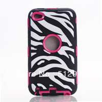Dropship Hybrid PC Silicone Defender Zebra Case For Ipod Touch 4 + Screen Protector, Free Shipping