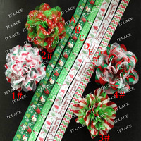 "Christmas 3.75""chiffon lace flower and 5/8"" print FOE FEDEX FREE SHIPPING"