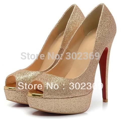 Sexy shining black gold platform thin high heel women ladies office formal party business sandal pumps footwear H1210(China (Mainland))
