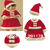 Free Shipment baby girl christmas suit hat+dress color red  girl set suit baby clothing retail sales 294