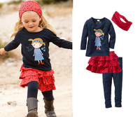 2014 spring girls fashion leisure suit long sleeves top+skirt+leggings+hedwear 4 pcs set cool high quality set