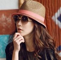 new style women summer caps straw hat female summer vintage chili straw braid fedoras mesh sunbonnet fashion sun hat J-0